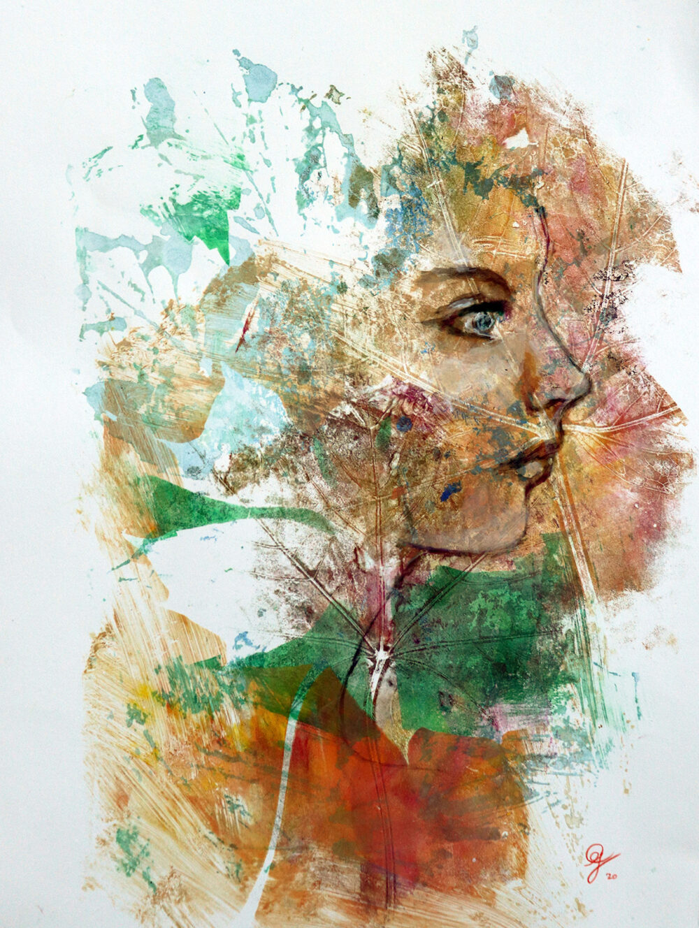 peinture-portrait-profil-femme-impression-botanique-artiste-peintre-carine-genadry