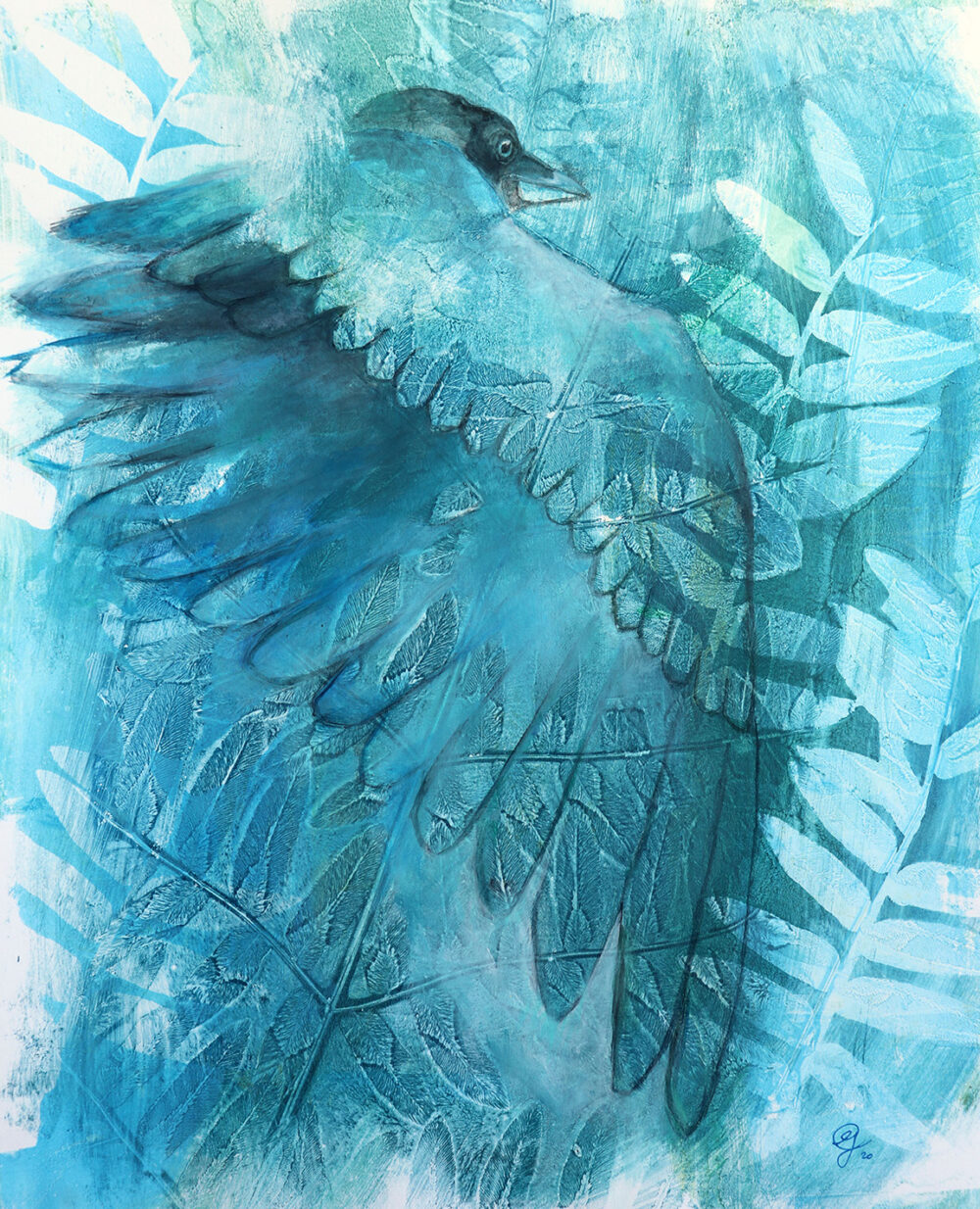 peinture-corneille-bleu-artiste-peintre-carine-genadry