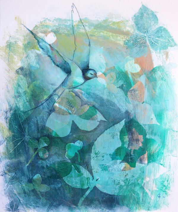 peinture-hirondelle-en-apesanteur-artiste-peintre-carine-genadry