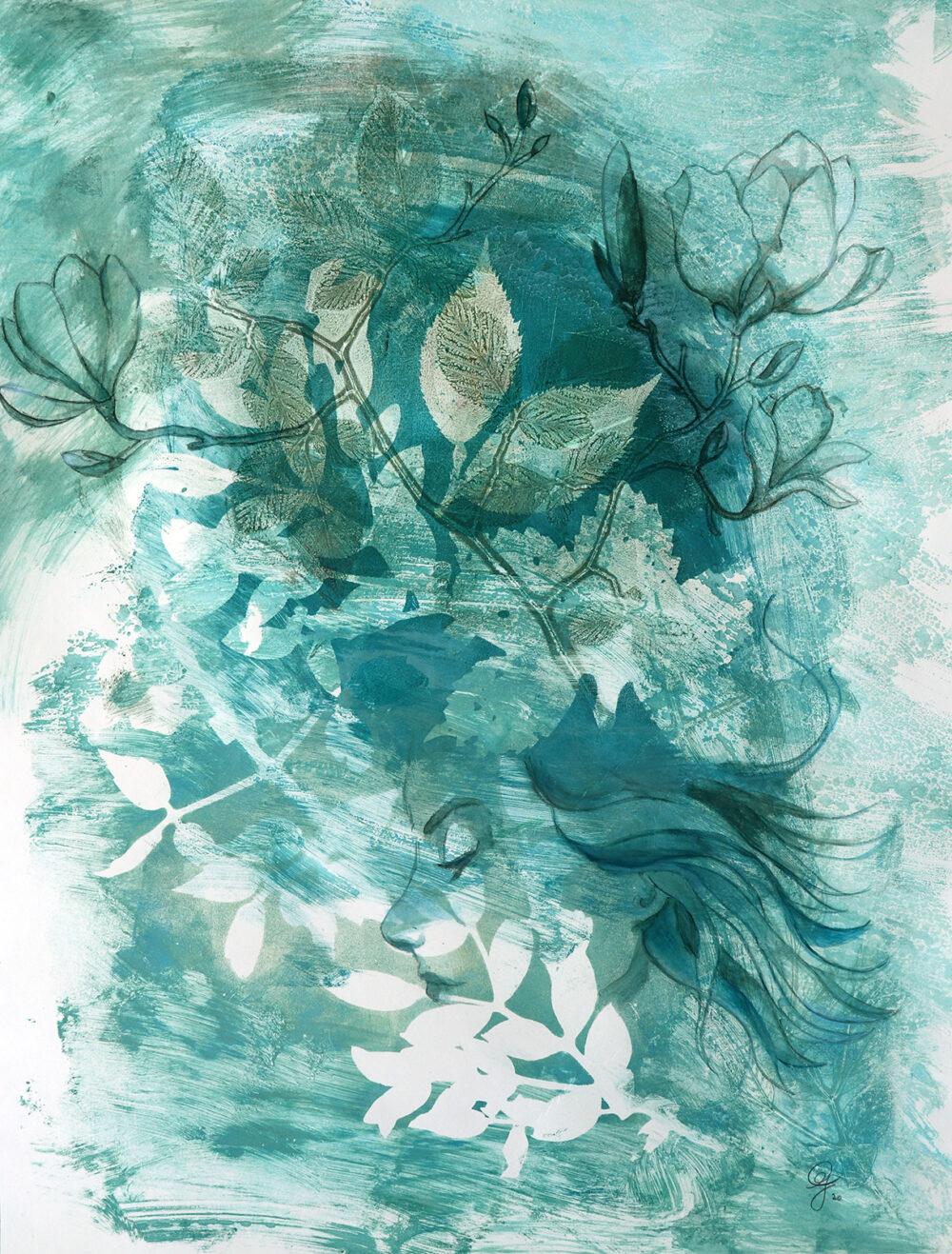 peinture-portrait-femme-feuillage-artiste-peintre-carine-genadry