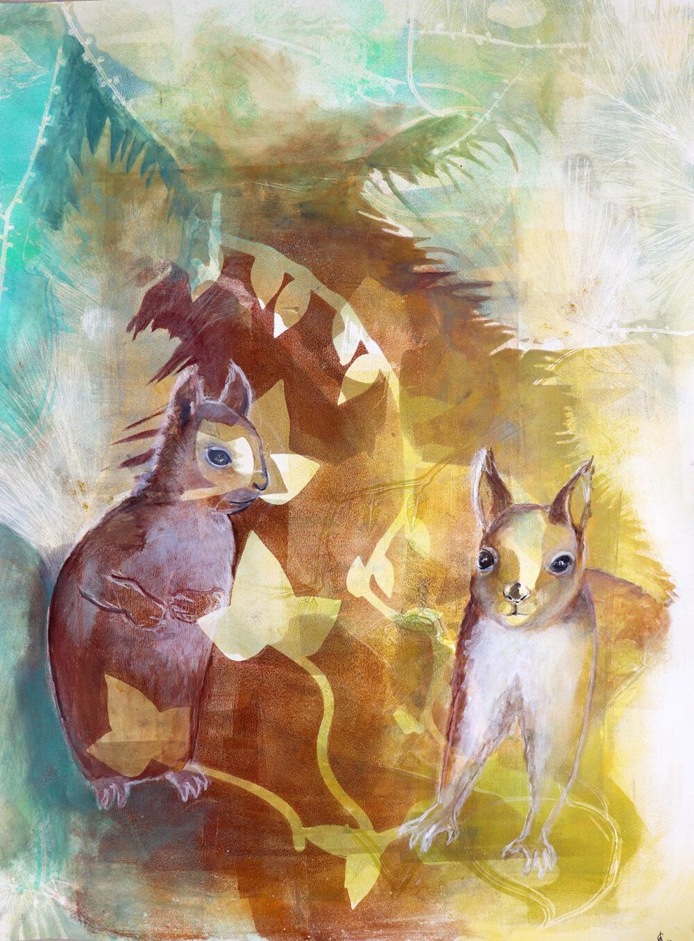 peinture-écureuils-turbulents-artiste-peintre-carine-genadry
