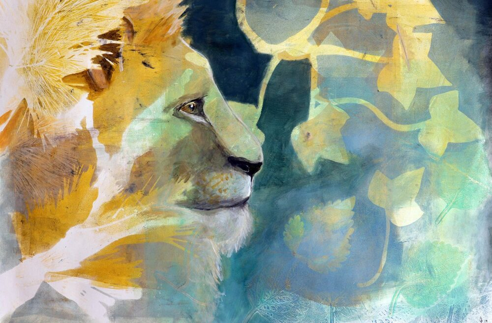 peinture-lion-profil-artiste-carine-genadry