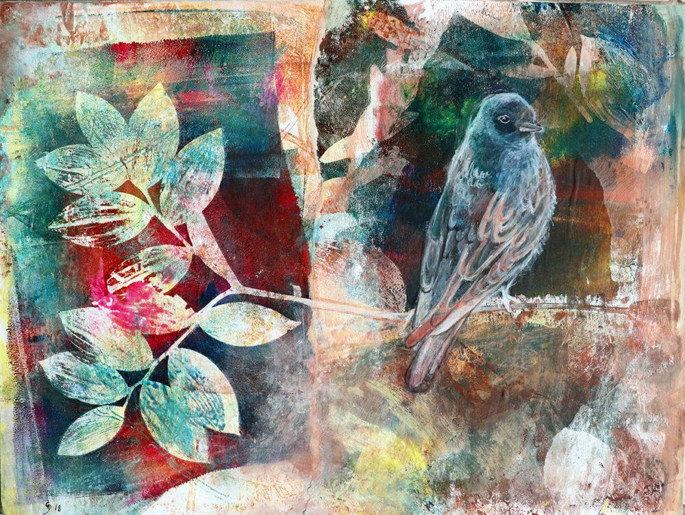 sur-une-branche-oiseau-artiste-peintre-carine-genadry
