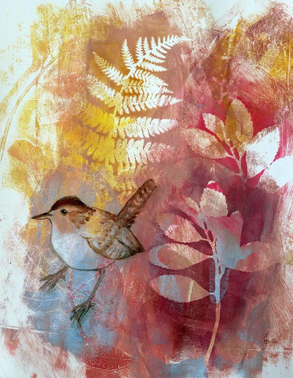 peinture-oiseau-troglodyte-artiste-peintre-carine-genadry
