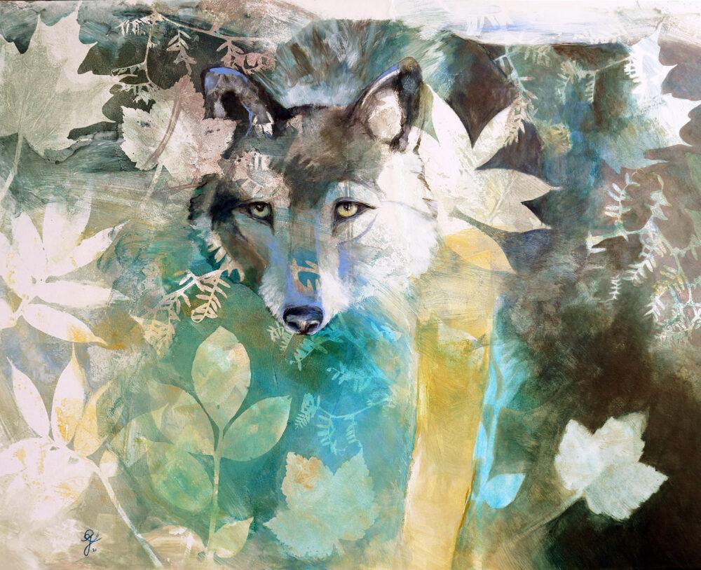 emergence-loup-foret-artiste-peintre-carine-genadry