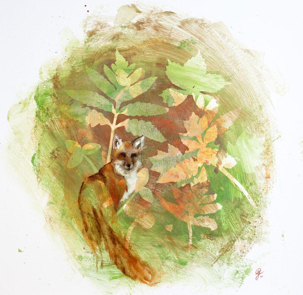 renard-foret-plantes-artiste-peintre-carine-genadry