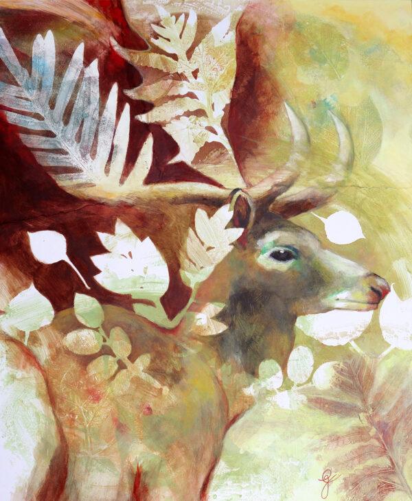peinture-wapiti-botanique-artiste-peintre-carine-genadry